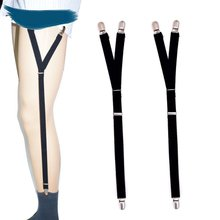 Men's Shirt Anti-Wrinkle Garter Y Type 2.0 Burr Three Clips High Elastic Thick Garter Straps Non-slip Clamps Leg Suspenders
