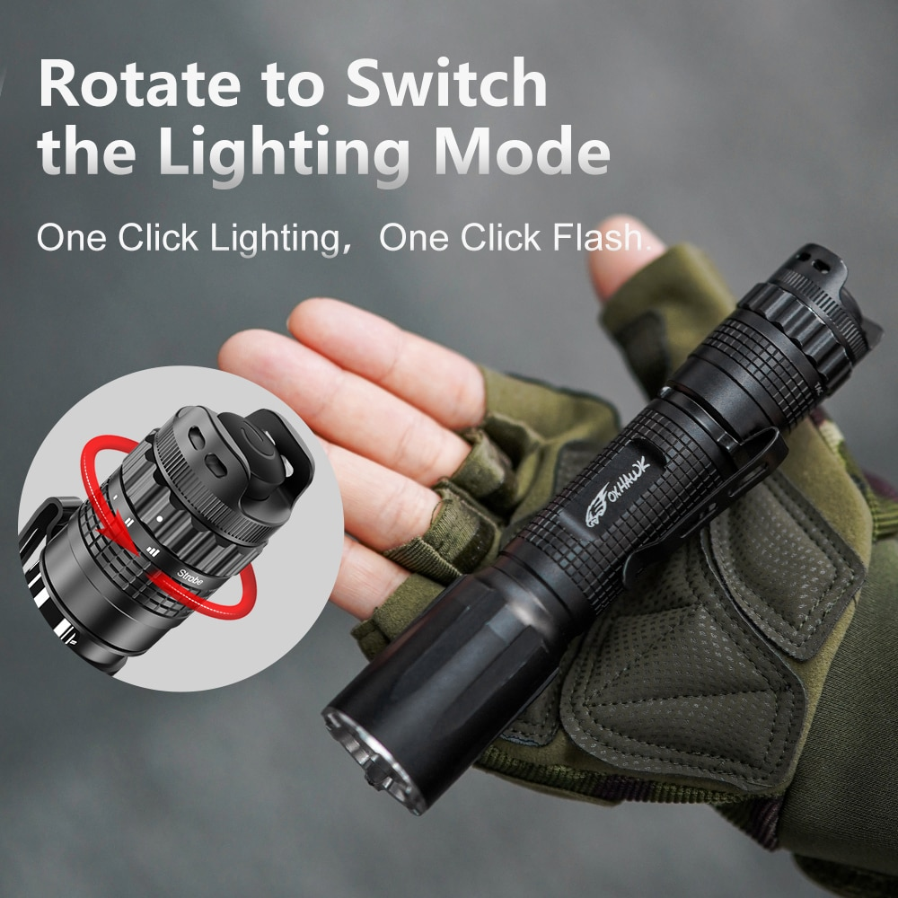 Foxhawk High Lumens Police Flashlights with Magnetic Rotary Switch , 5 Modes, IP68 Waterproof,  for Law Enforcement, Military enlarge