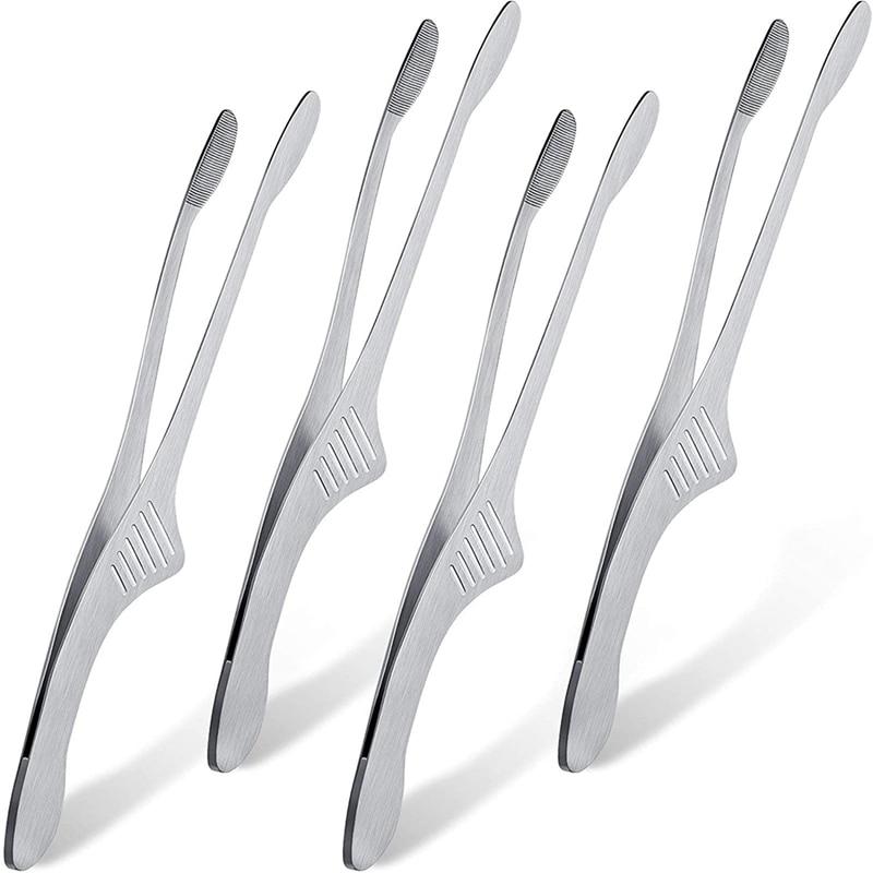 الفولاذ المقاوم للصدأ ملقط شواء الكورية اليابانية ملقط شواء مساكات/ ملاقط للمطبخ للطبخ فرن صغير تخدم تونغ 4 قطعة