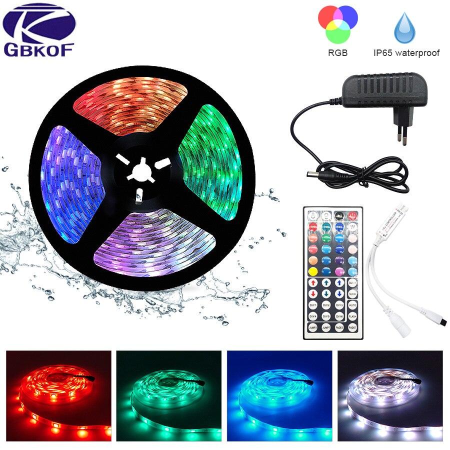 LED Strip Light RGB 5050 SMD 2835 Flexible Ribbon fita led light strip RGB 5M 10M Tape Diode DC 12V+ Remote Control +Adapter