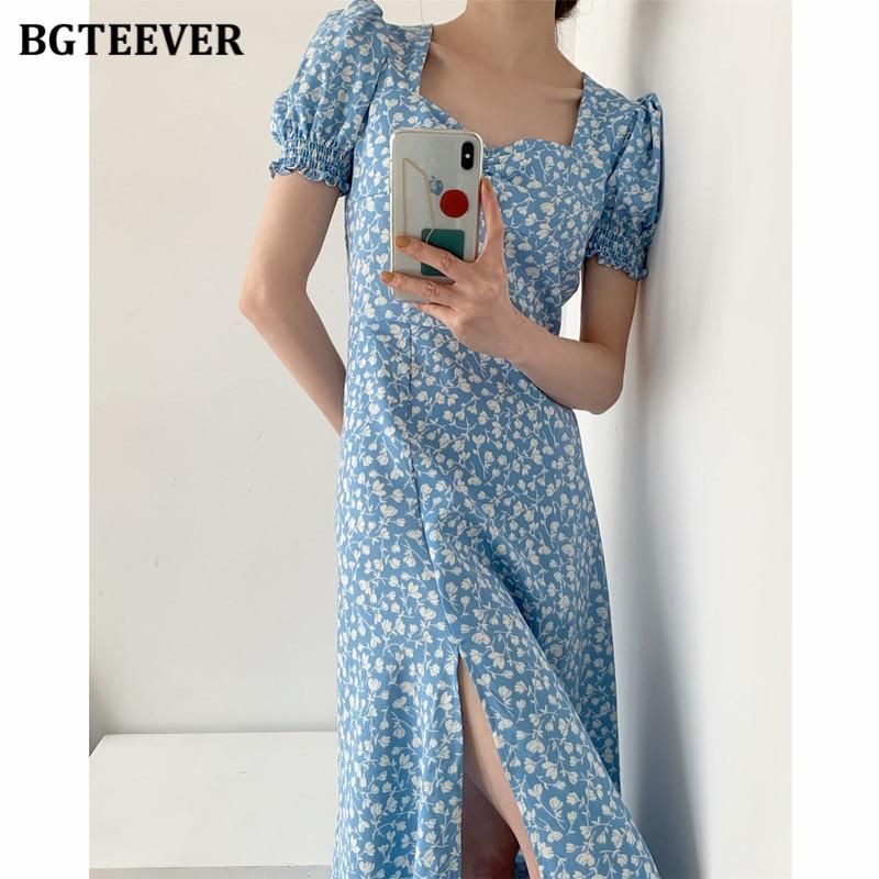 BGTEEVER Vintage Floral Women Dress Square Collar Puff Sleeve Split Female Printed Dress 2020 Summer Slim Waist A-line Vestidos