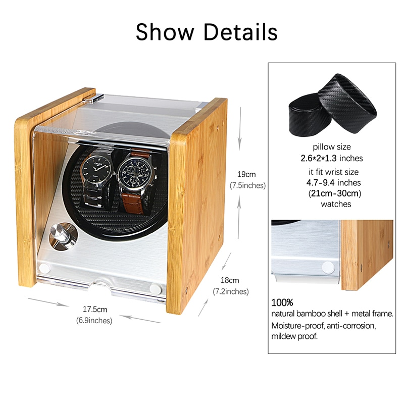 Automatic Watch Winders Acrylic Window Black Carbon Fiber Quiet Motor Storage Display Watches Box  PU Leather LED Light enlarge