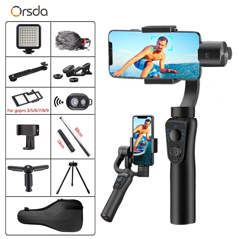 Orsda S5B-مثبت كاميرا Gopro ، 3 محاور ، عصا سيلفي ، حامل ثلاثي القوائم ، اتصال بلوتوث للهاتف الذكي