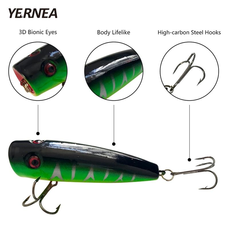 New 5Pcs/Lot 7cm 9.8g Popper Fishing Lure Wobbler 5 Colors Hard Bait Treble Hooks Carp Fishing Isca Artificial Lures Pesca enlarge