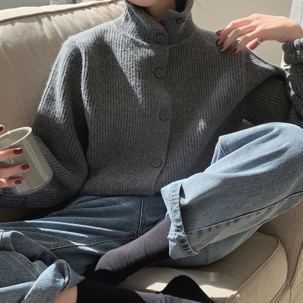 2021 Women Fashion Sweater Solid Color Turtleneck Single Breasted Long Sleeve Japanese Style Simplicity Casual Knit Cardigan New
