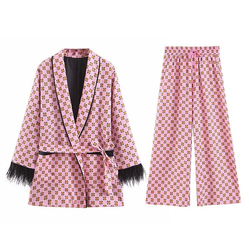 2019 Geometric Printing Feather Kimono Coat With Sashes Fashion Ladies Wide Leg Pants Pajamas Suits Pink Two Piece Set