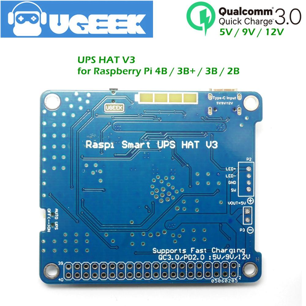 UGEEK UPS3 قبعة مع بطارية لتوت العليق 4B 3B + 3B | دعم الشحن السريع QC3<5 فولت/9 فولت/12 فولت | تهمة أثناء التفريغ | خارج السلطة عبر GPIO