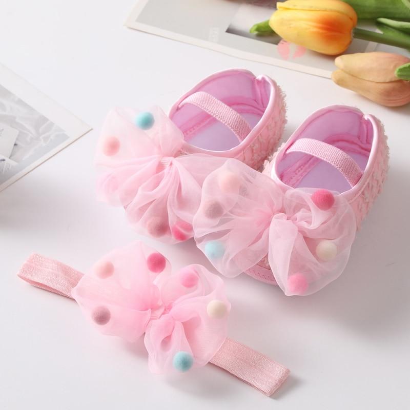 Newborn Infant Baby Girl Shoes +Headband Set First Walkers Soft Sole Bowknot Princess Cute Shoe Toddler Walking 0-18M Prewalkers