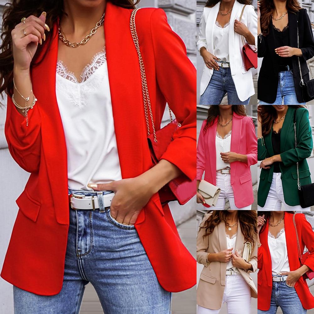 2021 New Women Elegant Loose Blazer Jackets Office Ladies Blazers Workwear Fashion Long Sleeve Coat Outwear Plus Size Clothes