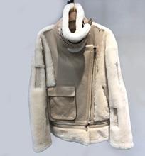 2019 Real Sheepskin Jackets Winter Womens Warm Merino Lamb Fur Leather Jacket Female New Winter Collection Fur Boomber Jacket