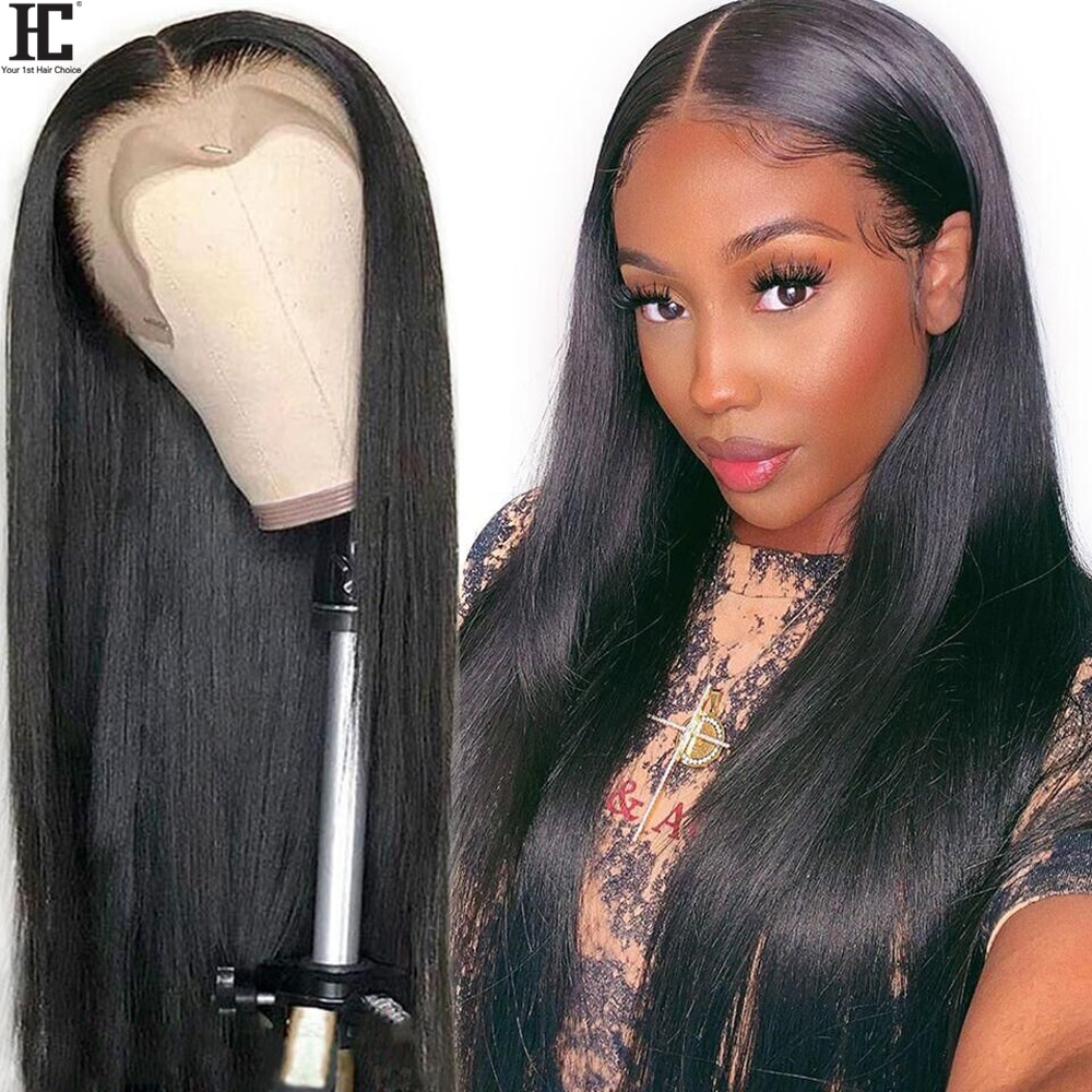 Straight Lace Human Hair Wigs Middle Part Brazilian Straight Wig With Baby Hair Remy 13x1 Lace Part Wig Pre Plucked 150%