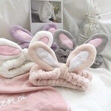 Bandeau élastique en molleton avec oreilles de lapin, corail doux pour femmes, couvre-chef Turban pour le visage, accessoires pour cheveux