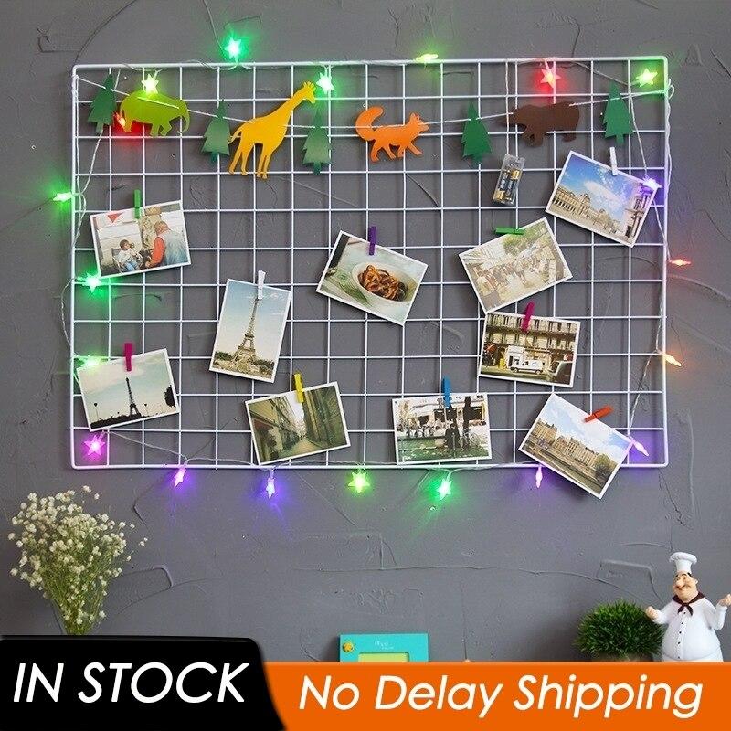 Рамка для фото сетки металлическая сетка DIY подвесная железная многорамная панель для хранения фотографий стойка для открыток сетчатая рамка стеллаж для хранения