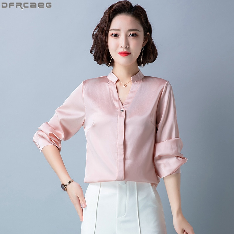 New Spring Summer Satin Womens Tops And Blouses Plus Size Blusas Mujer Fashion Long Sleeve Office V-Neck Shirts Pink White Blue