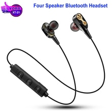 4 Speaker Wireless Stereo Bluetooth Headset XT-21Bluetooth Earphone WM-01 Double Moving Coils Magnetic Quad-core Sports Earphoe