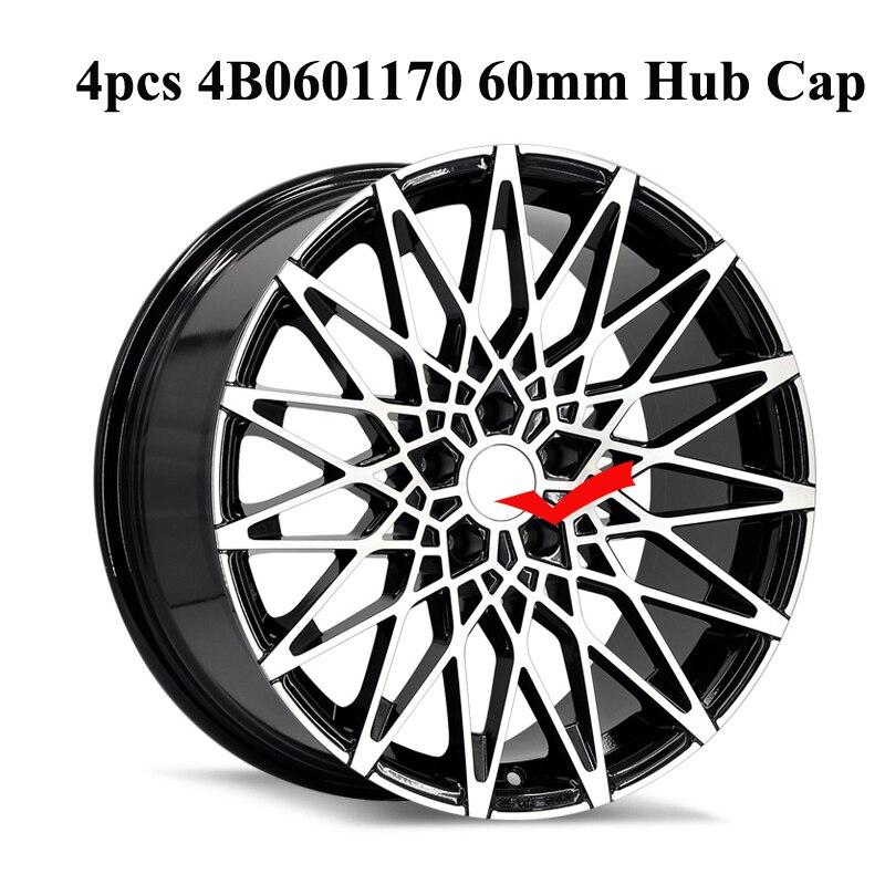 4pcs 4B0601170 60mm Wheel Rims Sticker Car Rims Cap For Audi A6 C5 C6 A3 A1 A5 A7 A4 B6 B8 Q5 Q7 Audi Rims Cover Accessories