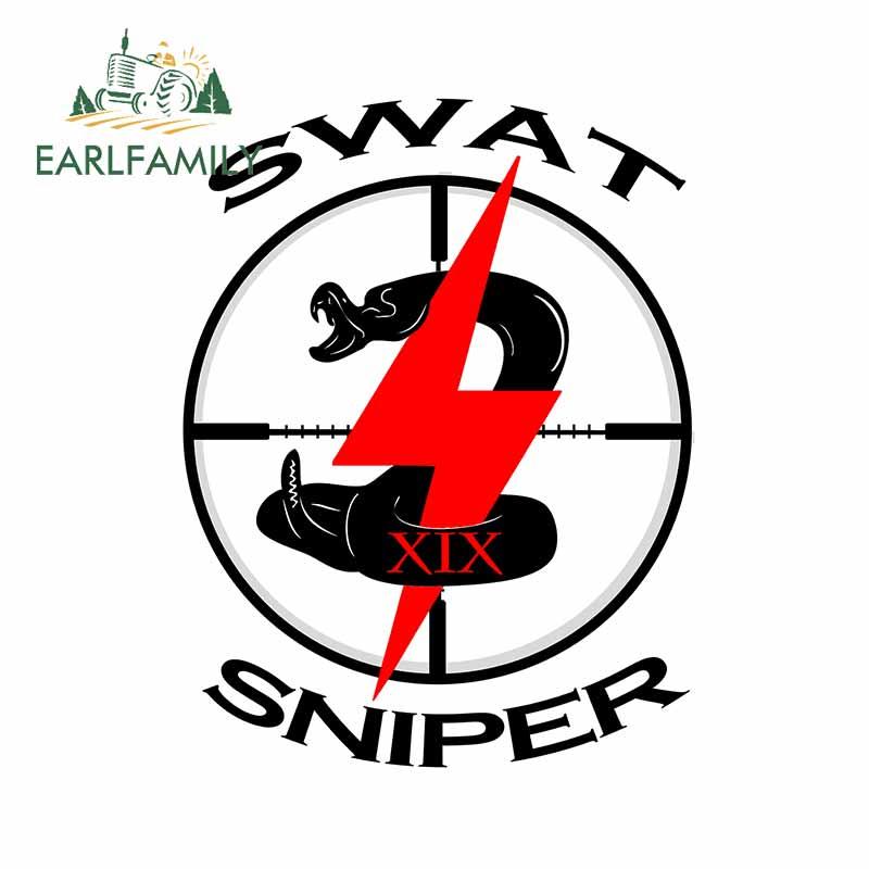 EARLFAMILY 13cm x 10cm Swat Sniper araba çıkartmaları dizüstü motosiklet çizilmez pencere vinil araba Styling çıkartması dekorasyon