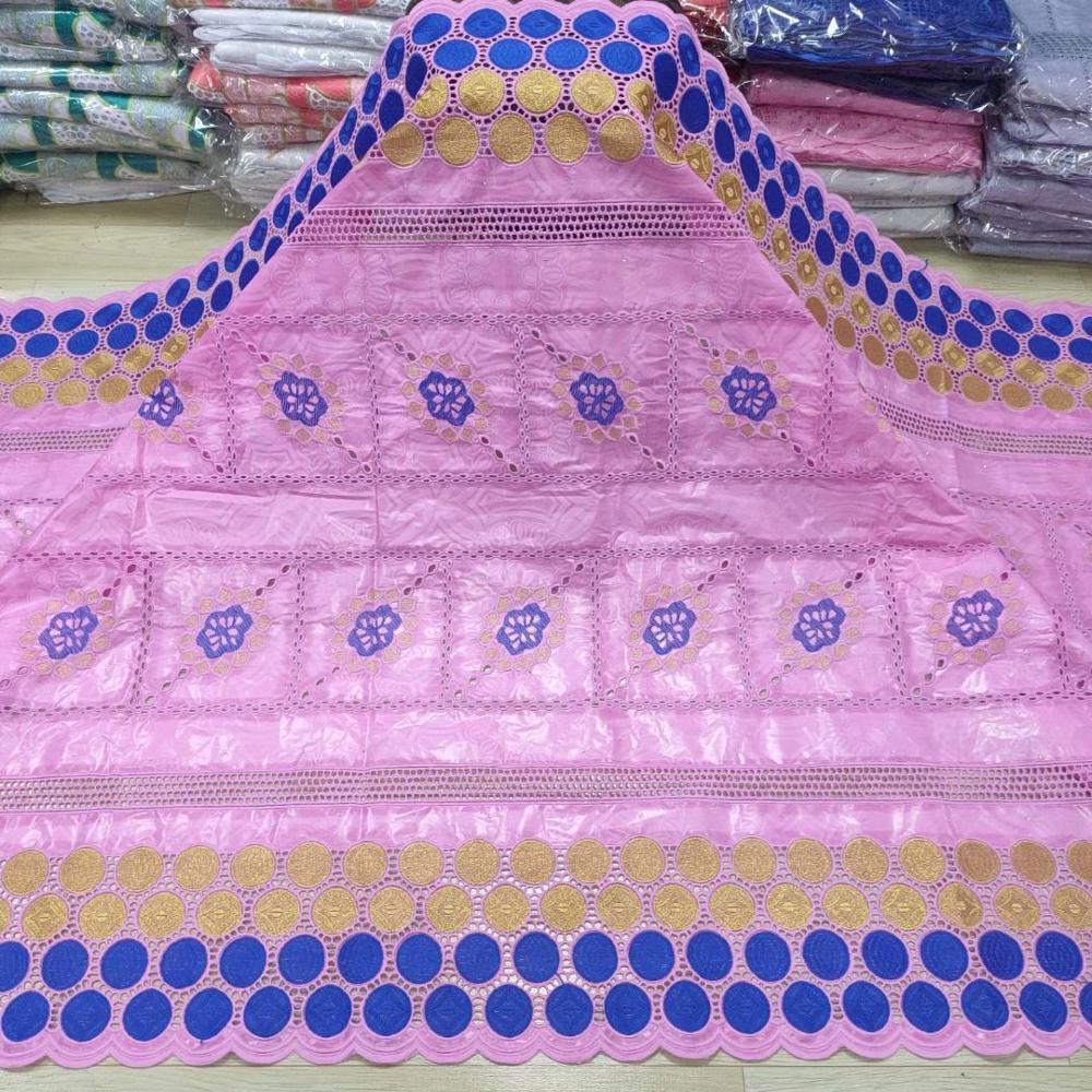 Mais recente africano bazin riche tecido de renda rosa mais recente bazin brode com pedras nigeriano africano costura materiais 5 metros