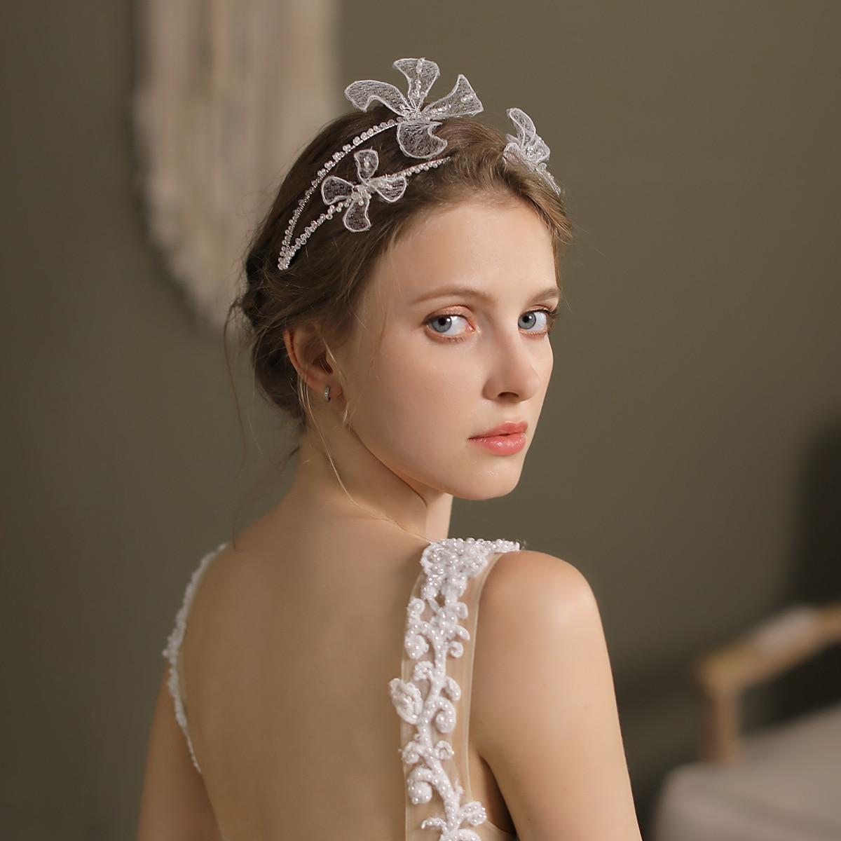 2021 جديد وصول الدانتيل الأزهار الزفاف أغطية الرأس اكسسوارات الزفاف الزفاف خوذة