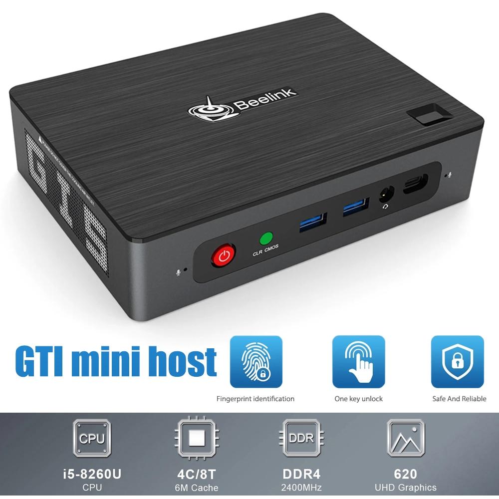 BEELINK GTI جهاز كمبيوتر صغير i5-8260U وحدة المعالجة المركزية 8 + 256G/ 16 + 512G DDR4 WIFI6 بلوتوث 5.0 1000M Win10 UHD 4K عرض الذكية جهاز كمبيوتر صغير مكتب المنزل