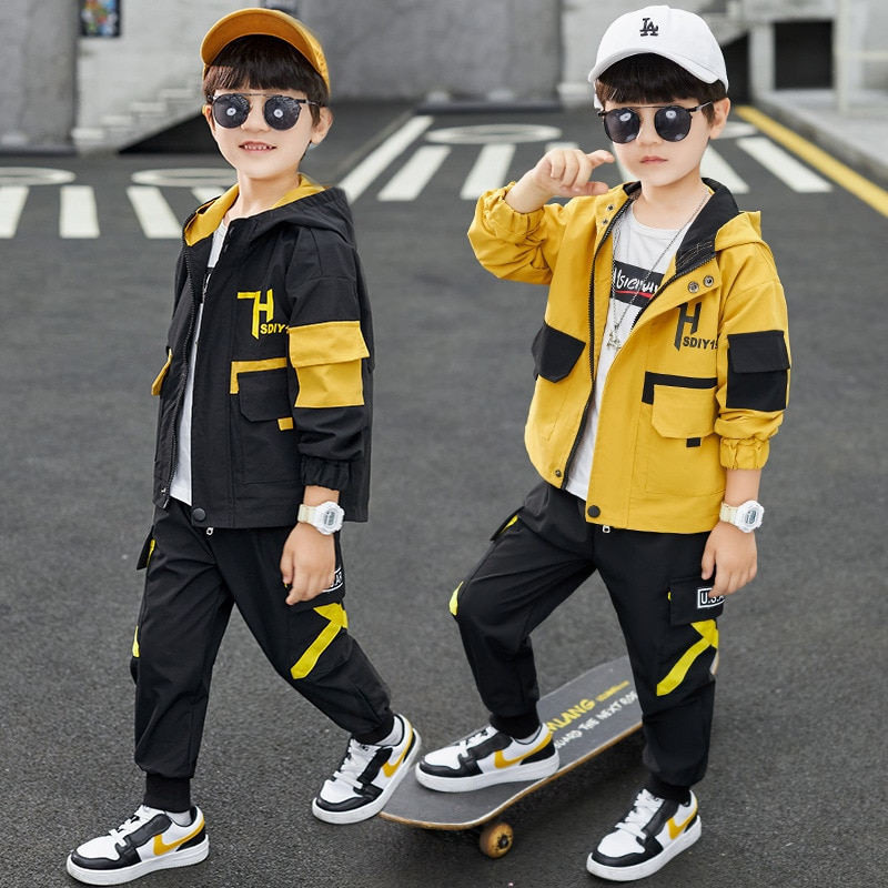 ملابس الخريف للأطفال ، طقم سترة بغطاء للرأس وبنطلون ، أسود/أصفر ، قطعتين ، ملابس رياضية عصرية للمراهقين من سن 4 إلى 8 إلى 12 سنة