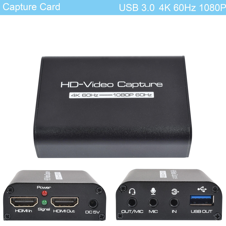 1080P 4K 60Hz HDMI فيديو بطاقة التقاط الصوت والفيديو HDMI إلى USB 3.0 صندوق تسجيل الفيديو لعبة الكمبيوتر بث مباشر مسجل فيديو هيئة التصنيع العسكري في الصوت...