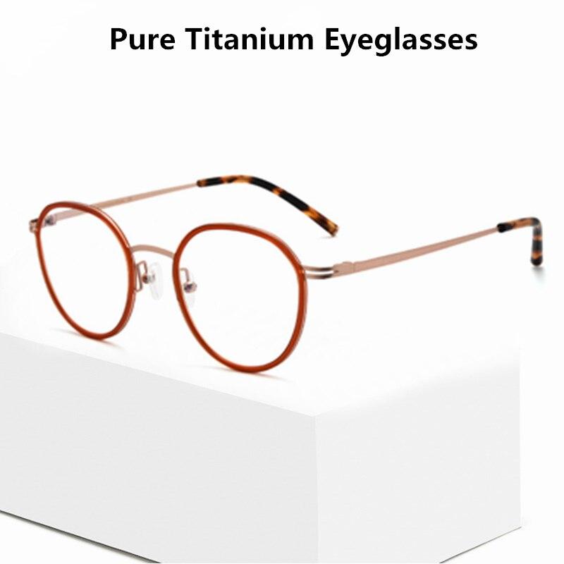 الكورية العلامة التجارية اليدوية النظارات الرجعية مستديرة النظارات التيتانيوم البصرية الإطار الرجال النساء خفيفة وصفة قصر النظر نظارات