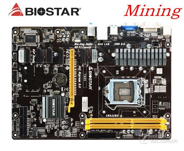 لوحة ام للتعدين BTC PRO تستخدم لسطح المكتب Biostar TB85 6GPU 6PCI-E احترافية B85 LGA 1150 DDR3 16G SATA3 USB3.0 PC