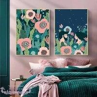Dessin anime photos pour la conception de la maison sur le mur Art imprimer fleur doux Couple toile peinture salon chambres amour affiche