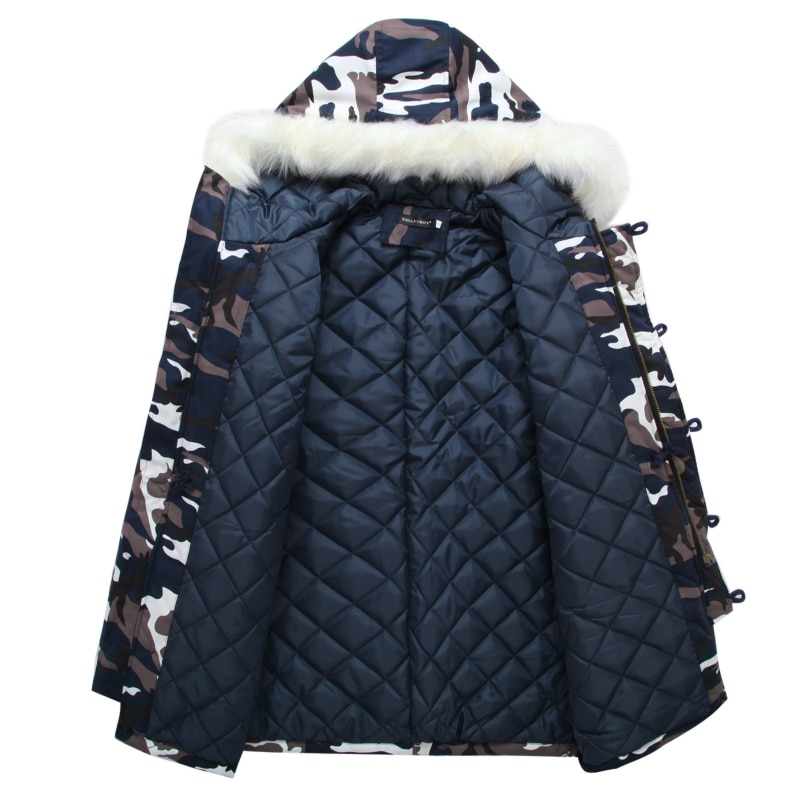 Parka Men New Style for Autumn and Winter Mens Winter Coat Large Fur Collar  Fashion Casual Camoufla