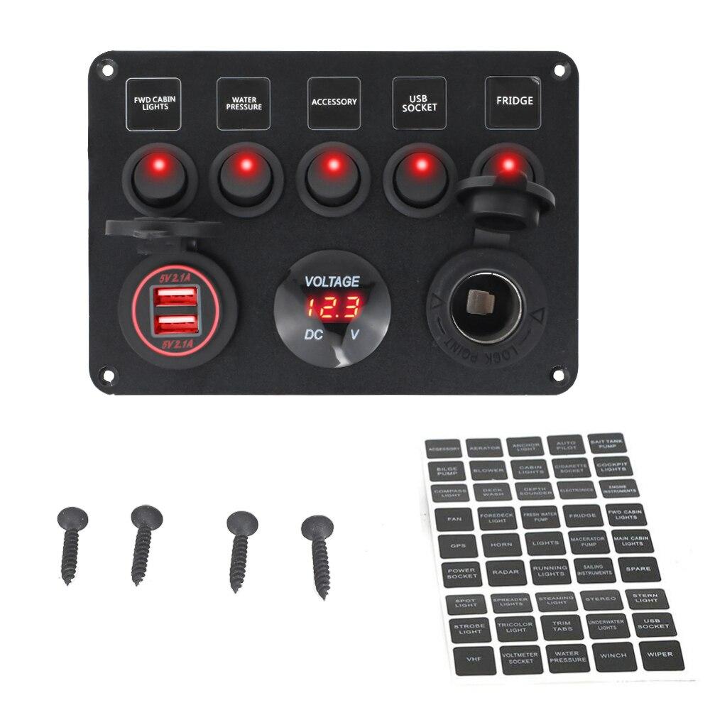 لوحة مفتاح القارب للسيارة ، مقياس الفولتميتر الرقمي ، مقاوم للماء ، منفذ USB مزدوج ، 12 فولت ، تركيبة بحرية ، 5 عصابات