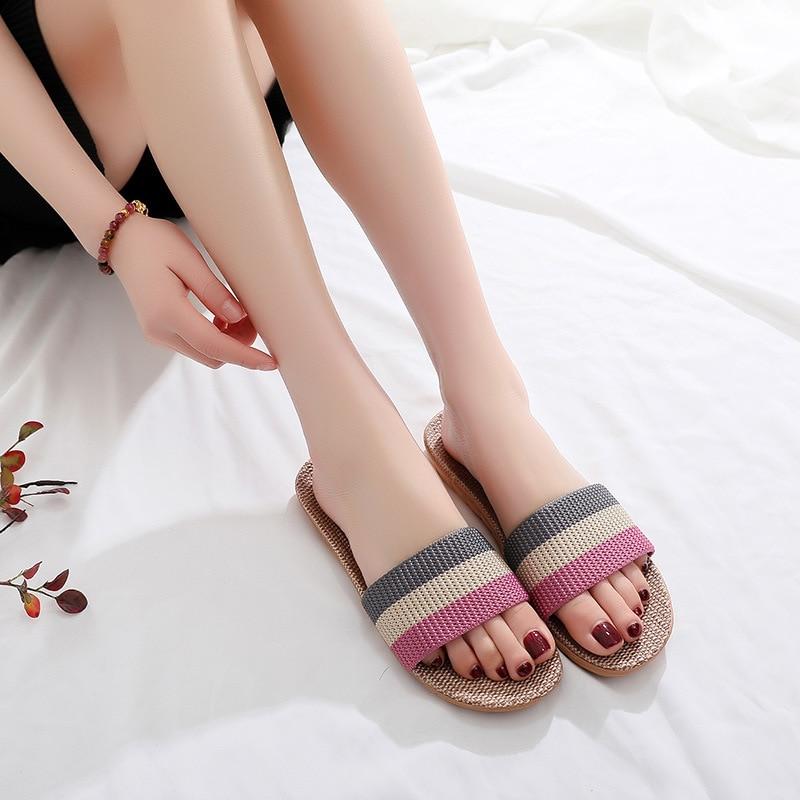 Suihyung/летние льняные тапочки для женщин и мужчин, разноцветные домашние тапочки с ремешком, повседневные шлепанцы на плоской подошве, женские шлепанцы с пеньковой стелькой