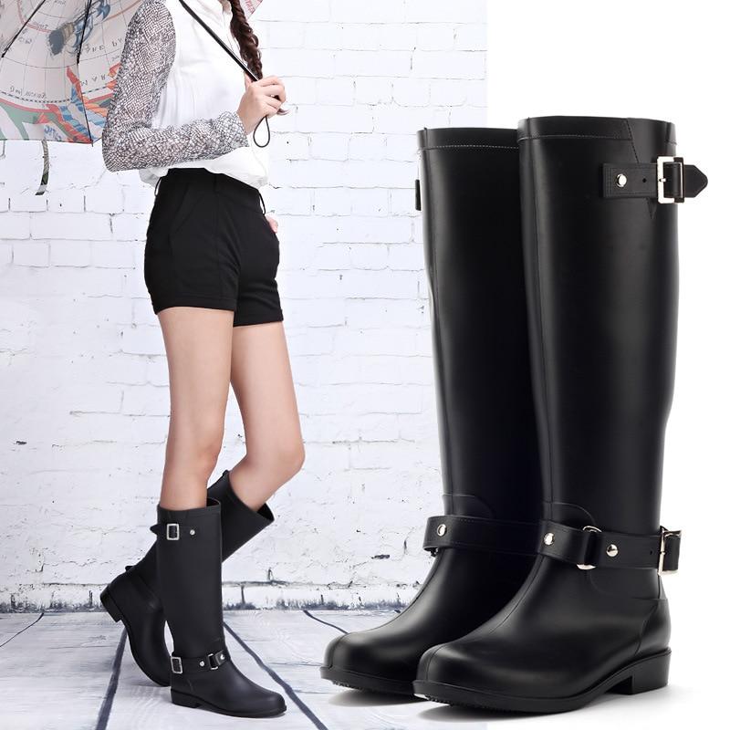 2021 fashion water boots female long tube zipper high-heeled acid and alkali waterproof non-slip rain large size boot