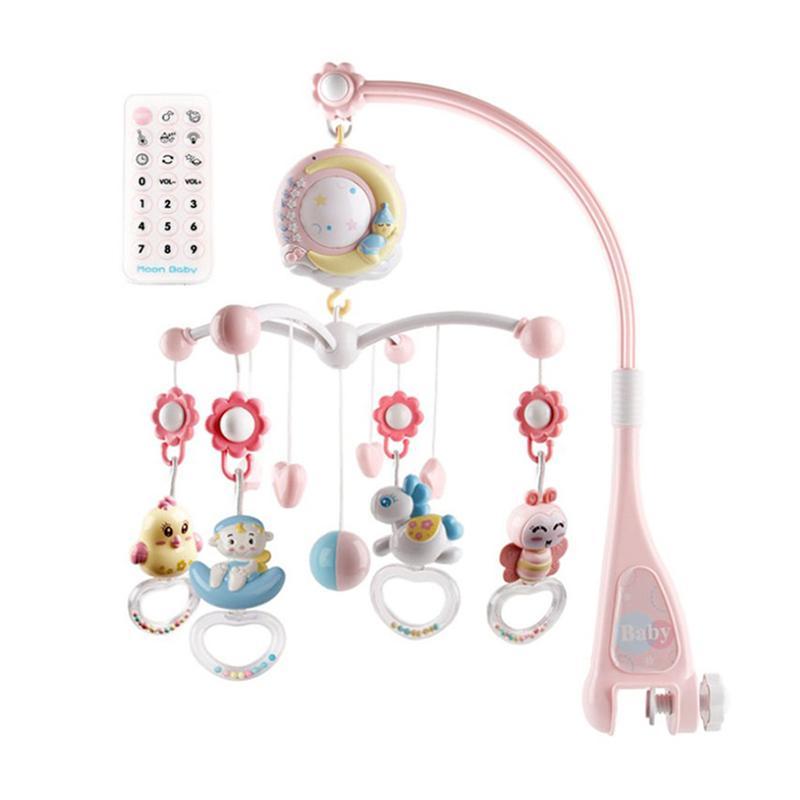 Soporte de juguetes con campana para cama de bebé, sonajero musical para mesita de noche, juguete para colgar en la cama, sonajero musical para bebés, Rosa