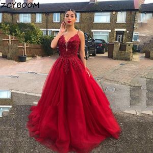 Red Prom Dresses 2021 Women Formal Party Night Elegant A-Line Applique Tulle Vestido De Gala Spaghetti Straps Long Evening Gowns
