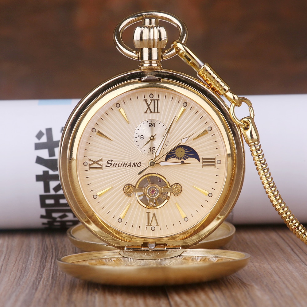 Luxury High Quality Golden Moon Phase  Mechanical Pocket Watch Roman Number Tourbillon Dial Pendant Chain Men Women Jewelry Gift