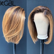 "KGBL kısa Bob Ombre 4/27 renk 13*4 dantel ön orta oranı 8 ""-16"" insan saçı peruk brezilyalı olmayan Remy saç ön koparıp peruk"