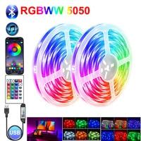 Светодиодная лента, совместимая с Bluetooth, RGB, USB-кабель, светодиодная лампа, лента, Диодная лампа, лампа для подсветки телевизора, светильник че...