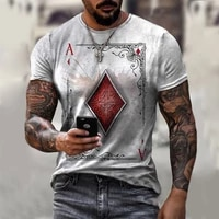 2021 hot sale new summer poker t shirt mens muscle fitness outdoor sports printing short sleeved shirt gym street wear casual t