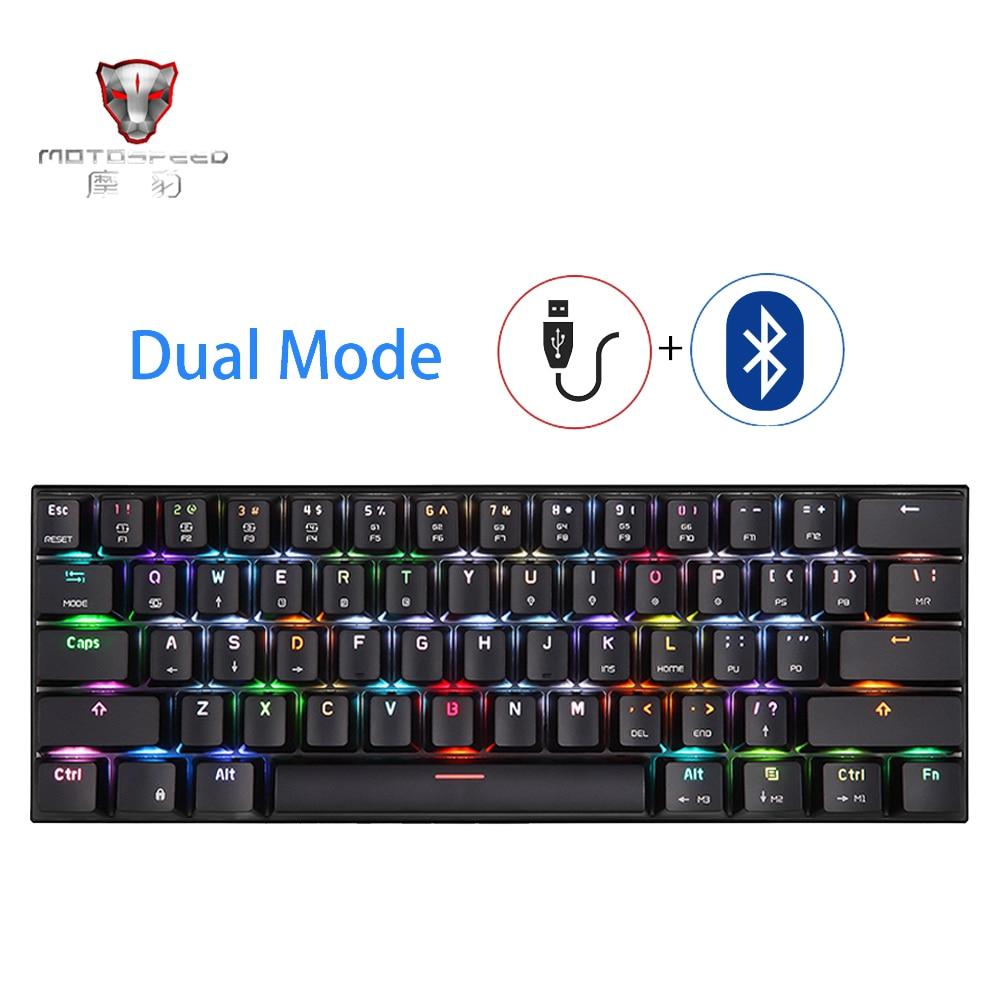 MOTOSPEED CK62 ، لوحة مفاتيح صغيرة محمولة, توصيل ثنائي سلكي عن طريق USB ولاسلكي عن طريق بلوتوث ، لوحة ميكانيكية RGB بإضاءة في الخلفية للألعاب ، 61 مفتاح