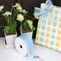 n2016 blue taffeta edge organza gift packaging wired edge ribbon 25yards roll