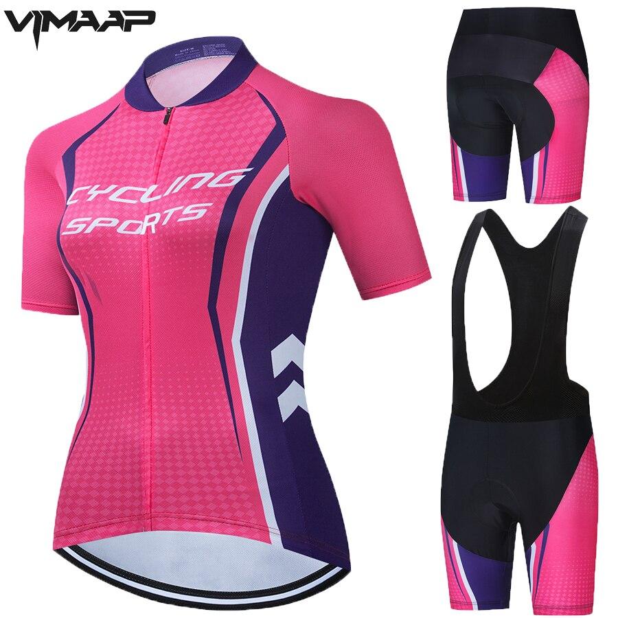 Conjunto de camisa de ciclismo verão feminino rosa pro equipe ciclismo roupas bicicleta respirável secagem rápida mtb bicicleta jérsei kits