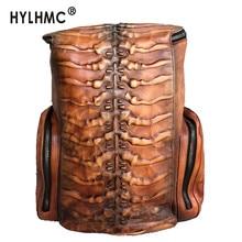 Men Backpack Retro Bone Pattern Laptop Bag Male Travel Backpacks Schoolbag 2020 New Super Large-capacity Genuine Leather Solid