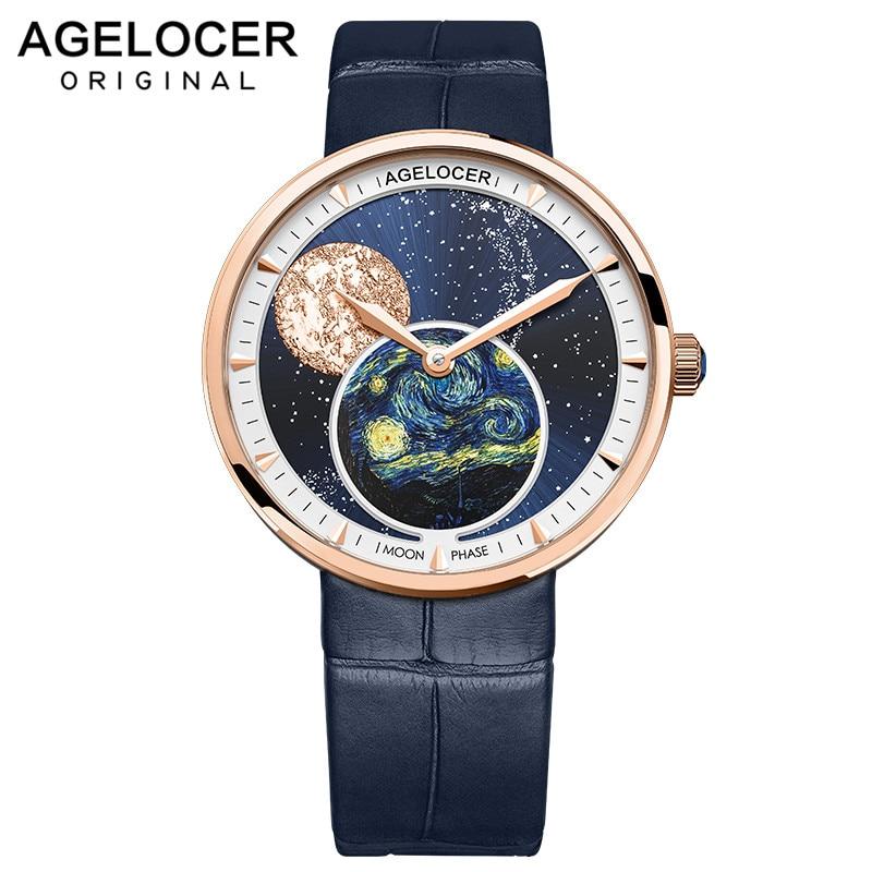 Ladies Watch Women Real Moonphase Watch AGELOCER Creative 316L Steel Bracelet Watches Female Waterproof Clocks Relogio Feminino