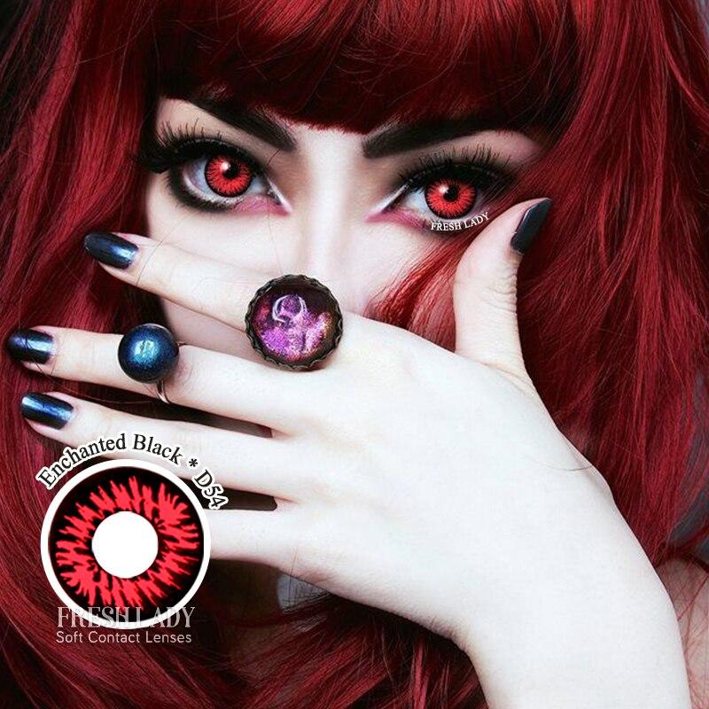 2 uds lentes de contacto de Color serie Witchcra Halloween lentes de contacto para Cosplay para ojos 14,5mm maquillaje lenti a contatto cosplay