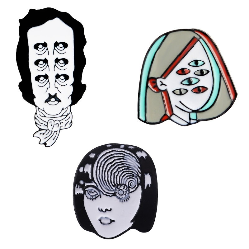 Raro Multi-ojo solapa Pins punk cara Horrible diseño gótico broches insignias mochila Pins joyería única regalos para amigos