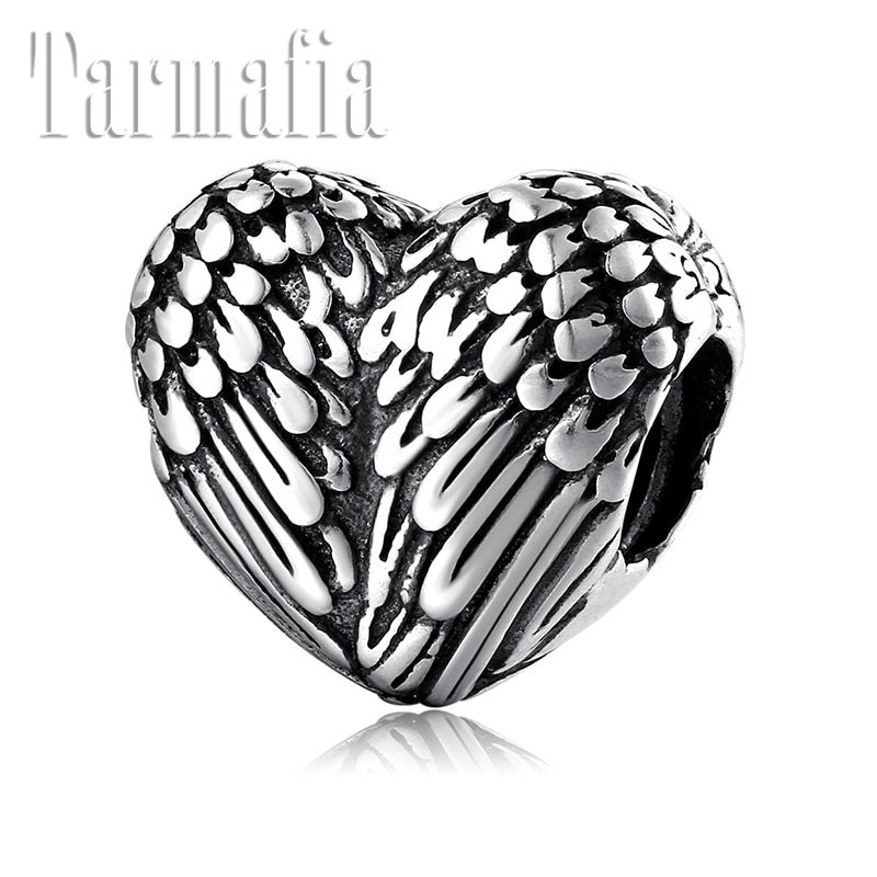 Hot 925 Sterling Silver DIY Angel Guard Wings Heart Beads for Women Jewelry making Fit Original Pandora Charm Bracelet Bangles