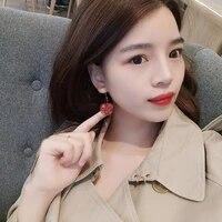 2020 new arrival trendy resin round women dangle earrings lovely sweet girl pink cherry flower earrings cute jewelry