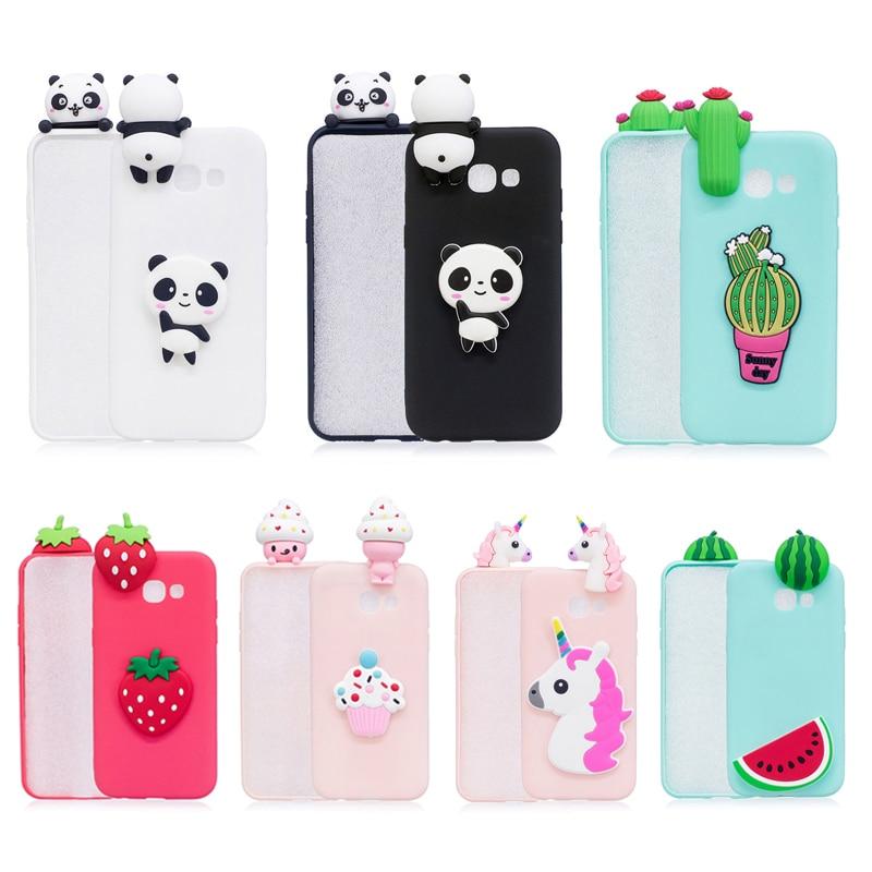 Funda de teléfono de silicona 3D Panda unicornio Cactus para Fundas Samsung Galaxy J3 J5 J7 2016 A7 A3 A5 2017 funda Coque mujer Niño