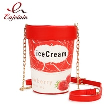 Fun mignon fraise crème glacée coupe Design Pu cuir mode femmes sac à bandoulière sac à main sac à bandoulière chaîne sac fille fourre-tout sac